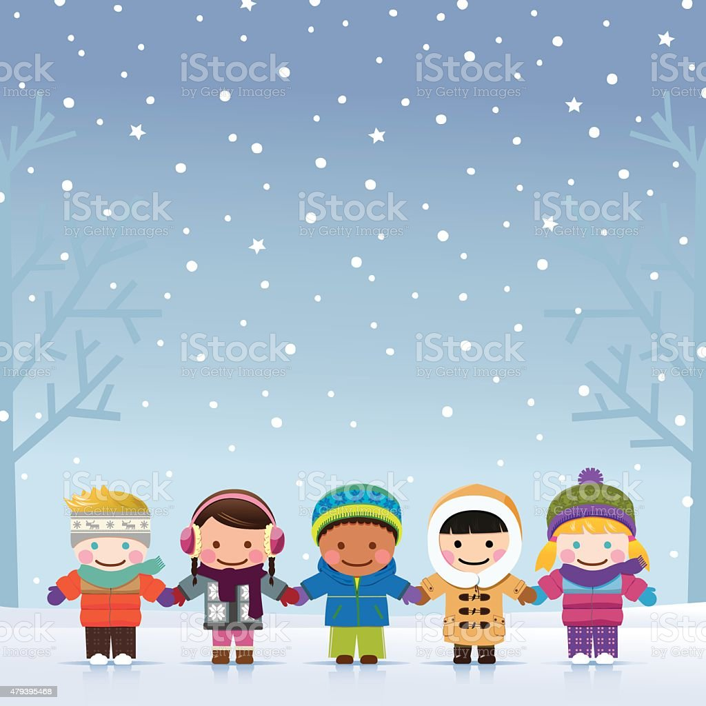Winter Boys and Girls vector art illustration