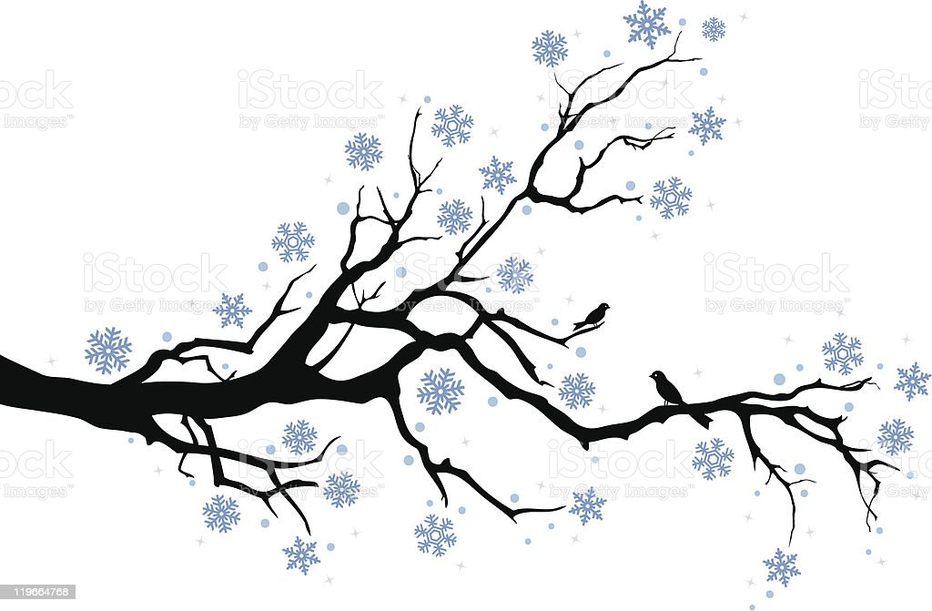 winter branch with snowflakes vector art illustration