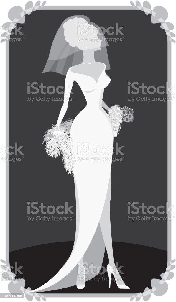 Winter Bride Silhouette vector art illustration