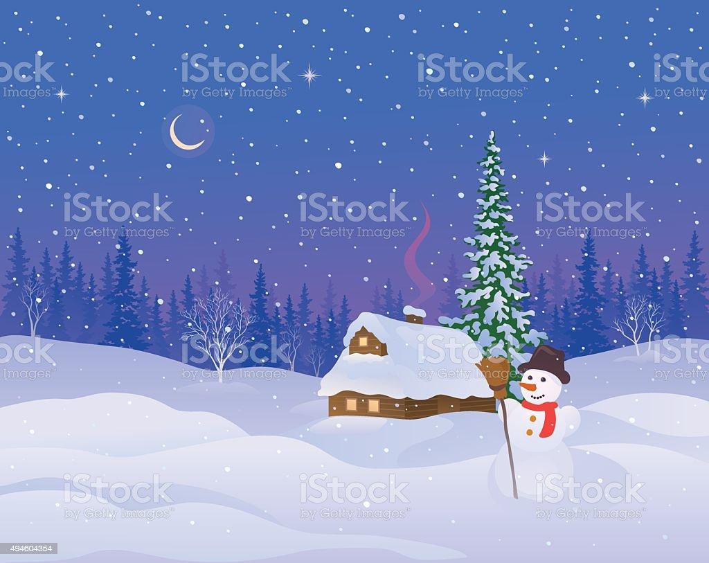 Winter cabin and snowman vector art illustration