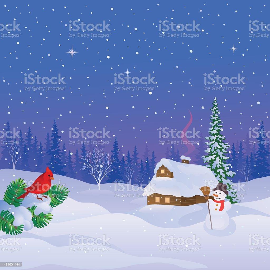 Winter cabin scene vector art illustration