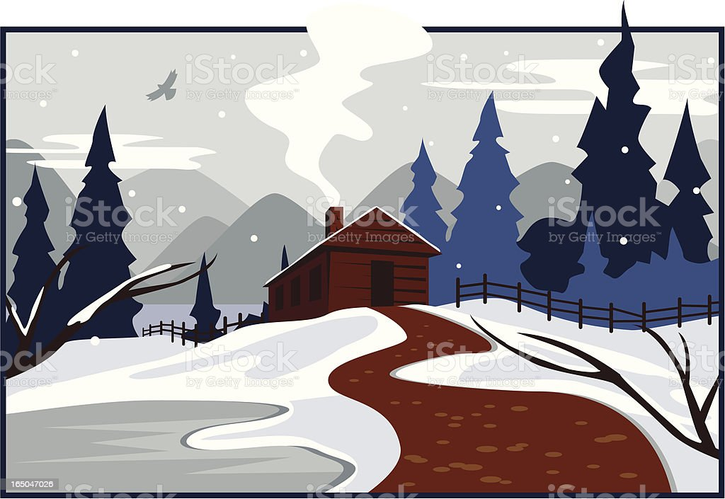 Winter Cabin vector art illustration