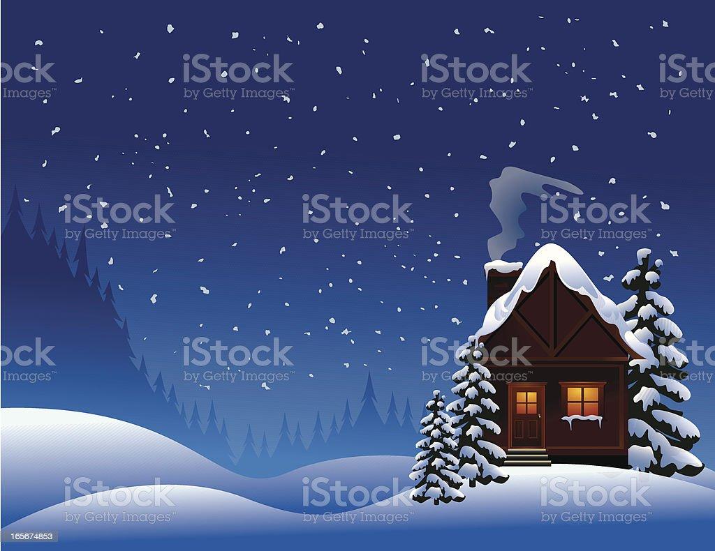Winter Cabin royalty-free stock vector art