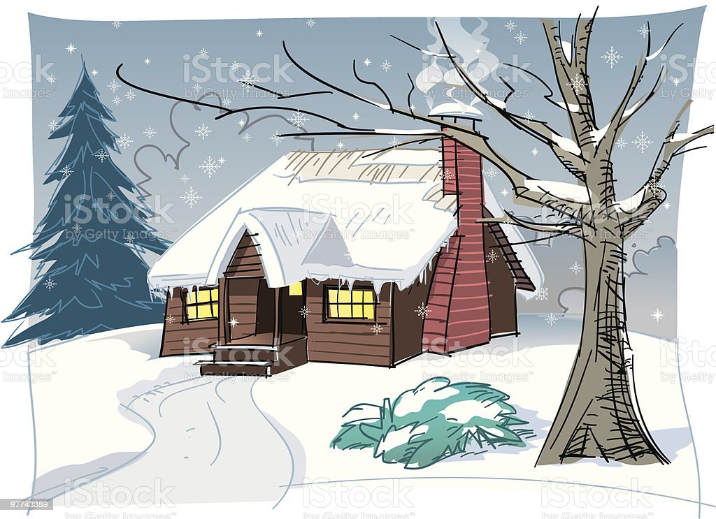 Winter Cabin royalty-free stock vector art