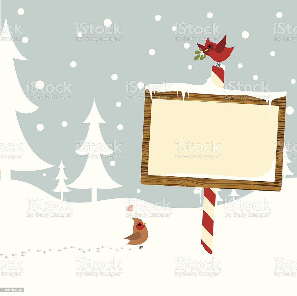 Winter Card with Sign vector art illustration