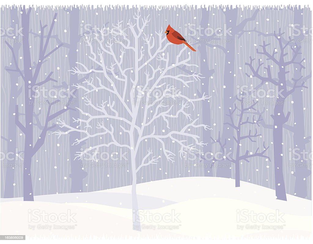 Winter Cardinal royalty-free stock vector art