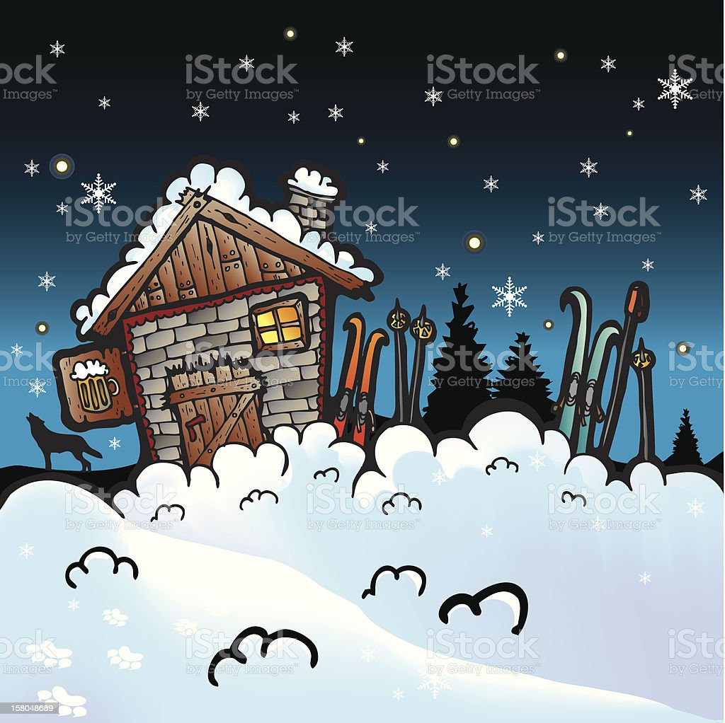 Winter cartoon vector background royalty-free stock vector art