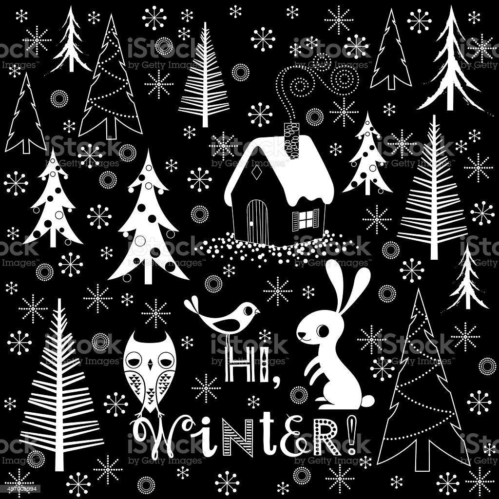 Winter Celebration Background. vector art illustration