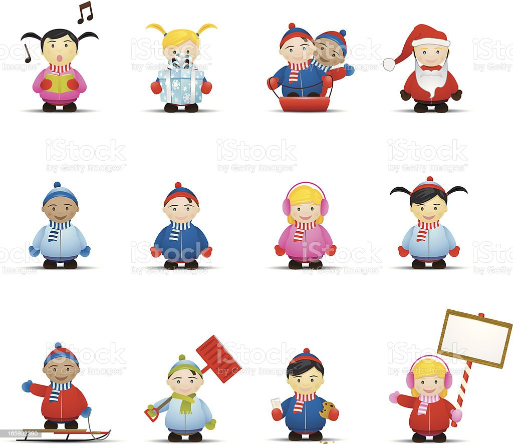 Winter Children Icons vector art illustration
