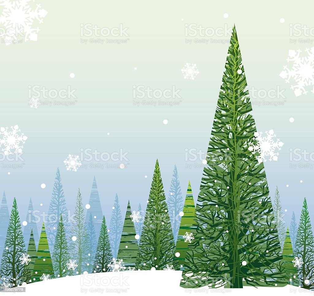 Winter Christmas Background vector art illustration