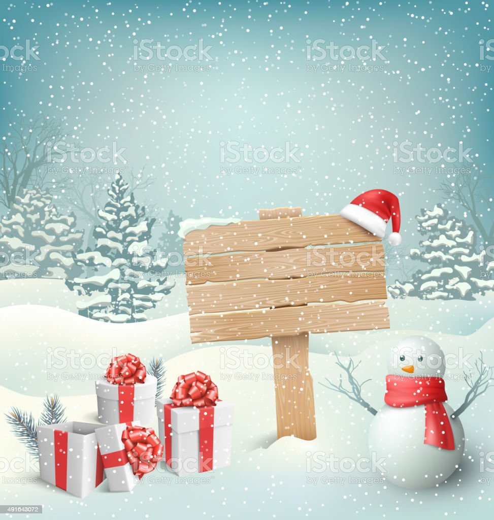 Winter Christmas Background with Signpost Snowman and Gift Boxes vector art illustration