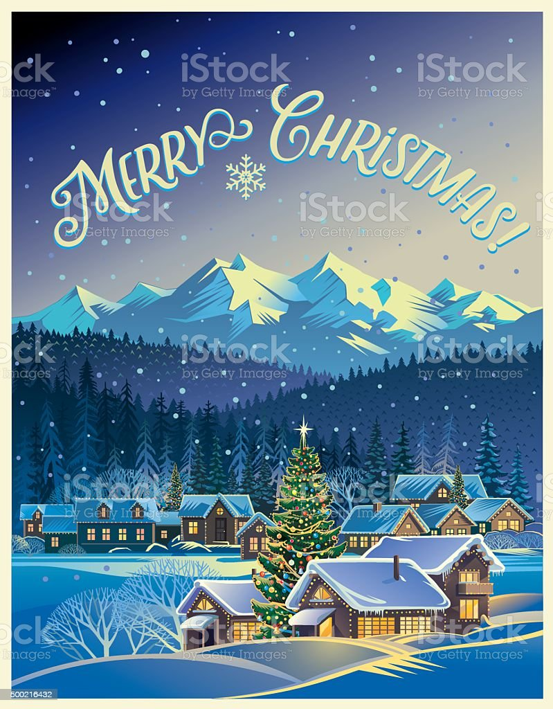 Winter Christmas landscape. vector art illustration