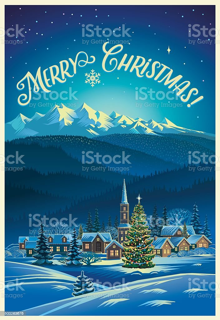 Winter Christmas landscape. vector art illustration