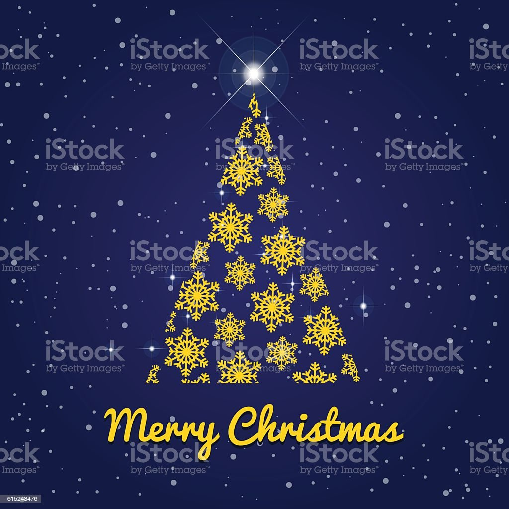 Winter Christmas tree on blue background with many snow flakes vector art illustration