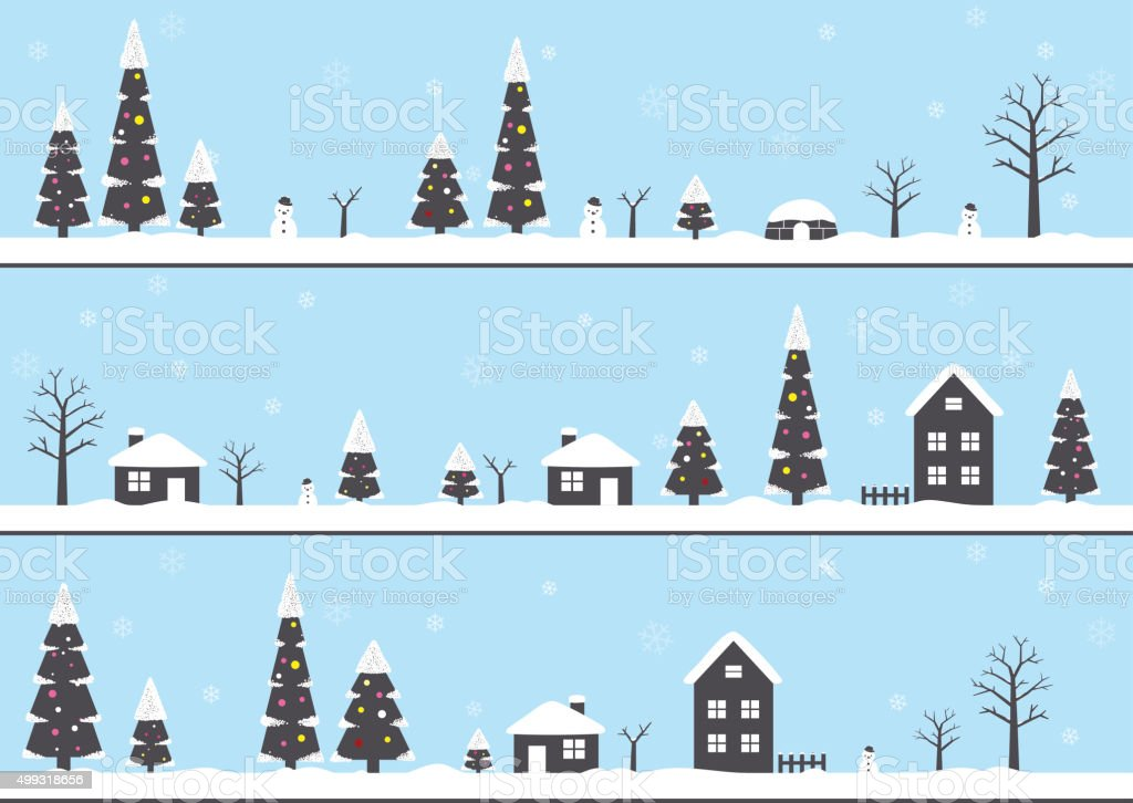 winter, Christmas with snow, forest, house, vector art illustration