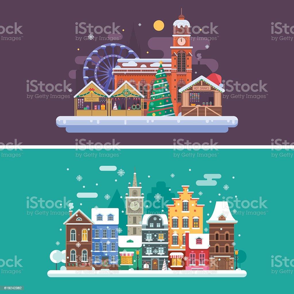 Winter City and Christmas Market vector art illustration