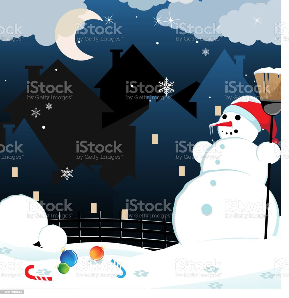 Winter city landscape royalty-free stock vector art