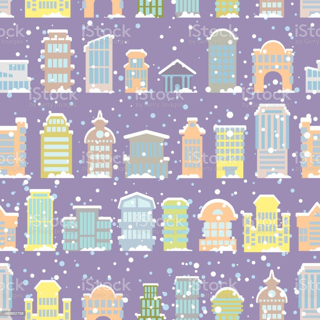 Winter city seamless pattern. Snowfall. Skyscrapers and municipa vector art illustration