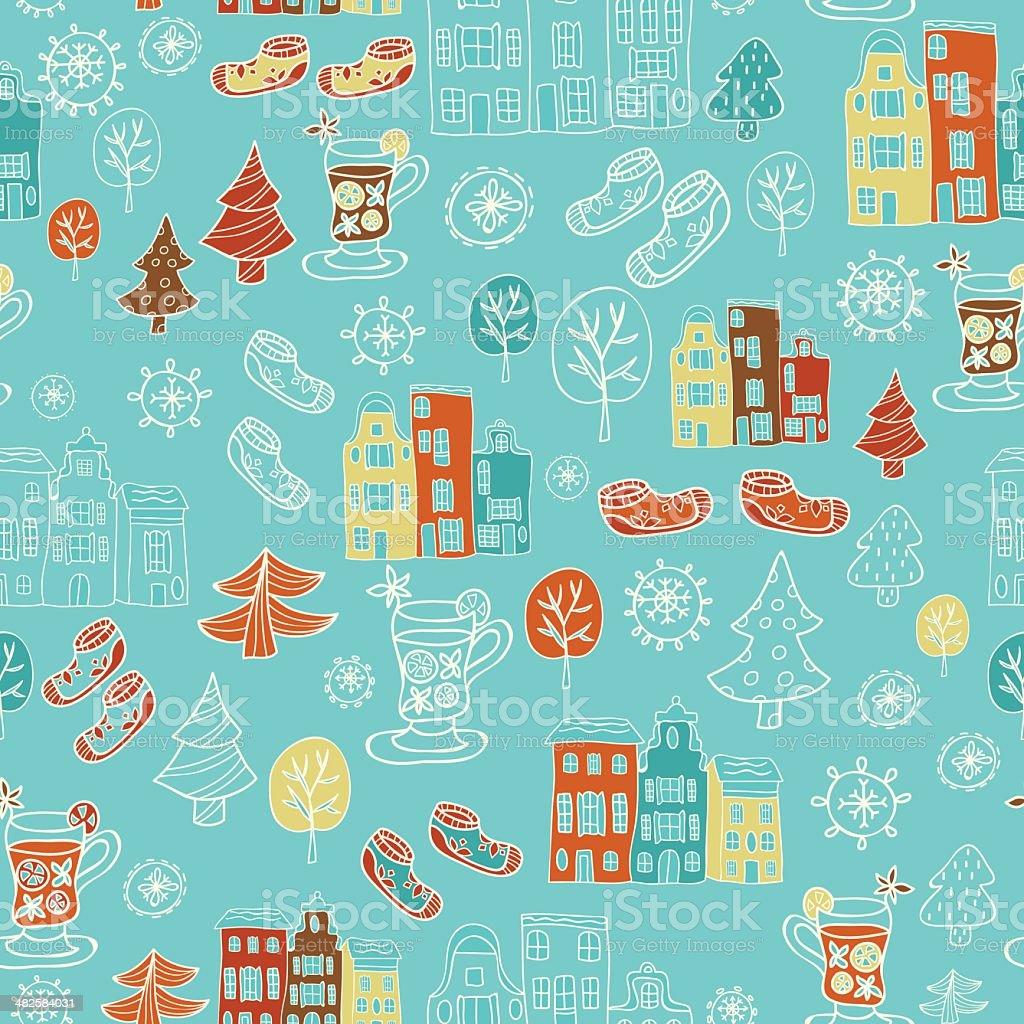 Winter city seamless pattern. vector art illustration