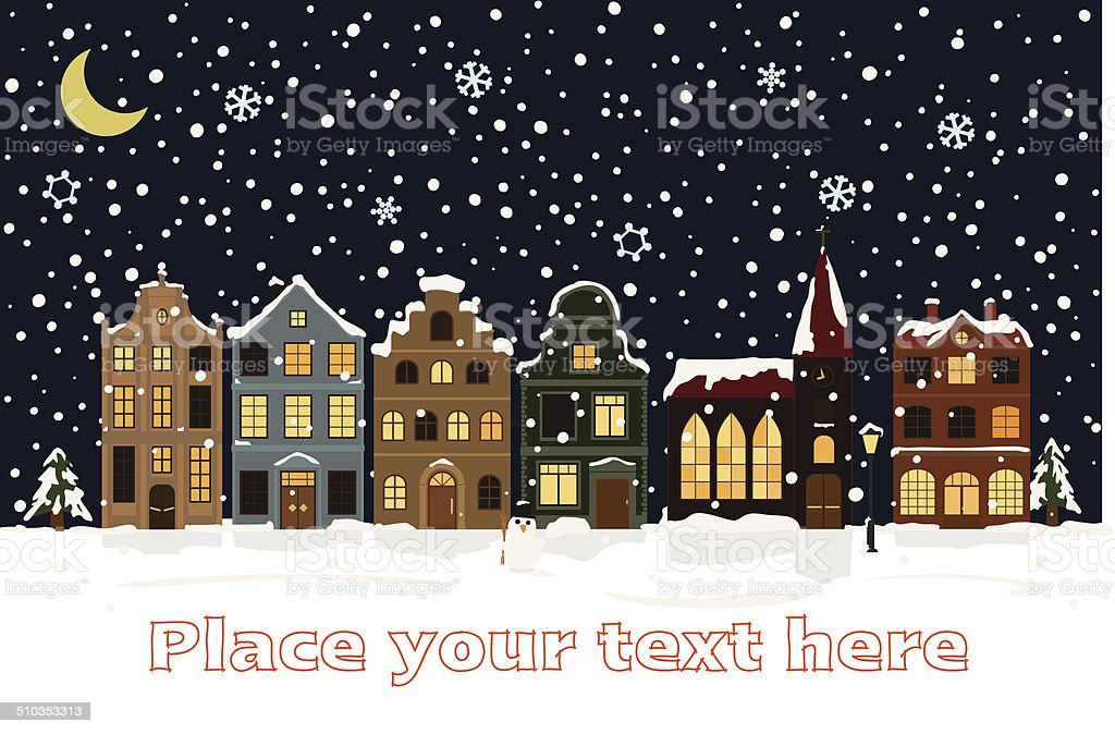 Winter Cityscape Vector Illustration with space for text vector art illustration