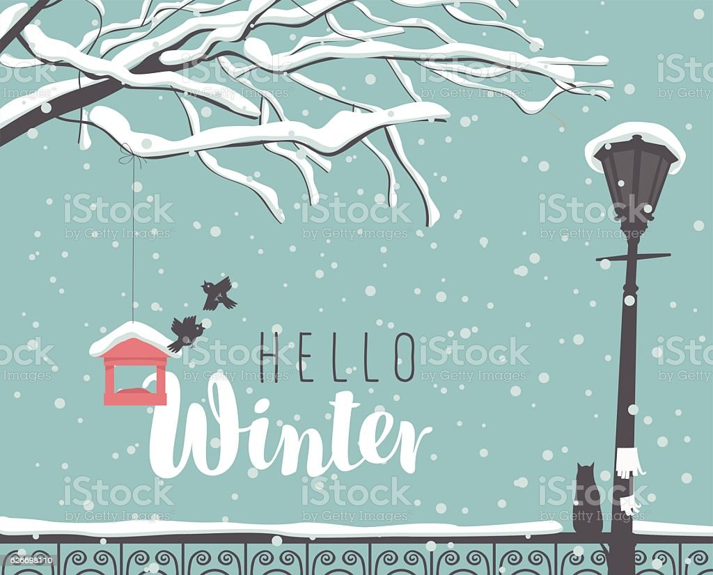 Winter cityscape with a branch of a tree vector art illustration
