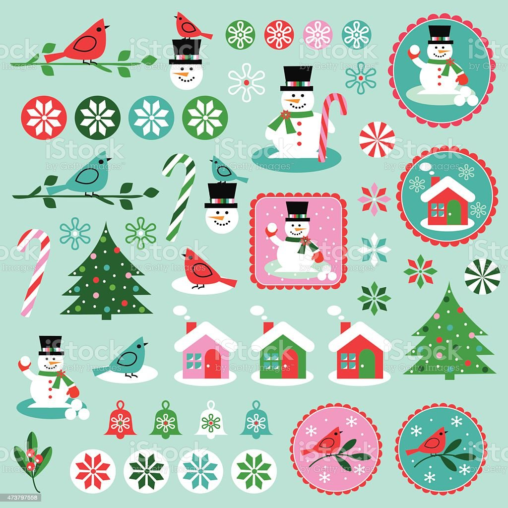 Winter clipart vector art illustration