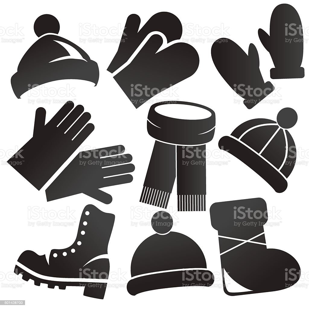 Winter clothes and accessories. vector art illustration
