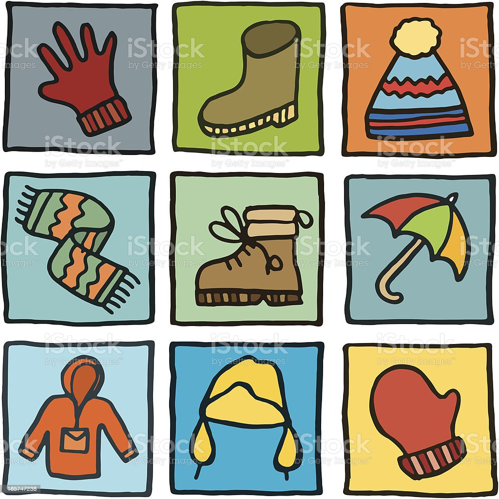 Winter clothes block icons royalty-free stock vector art
