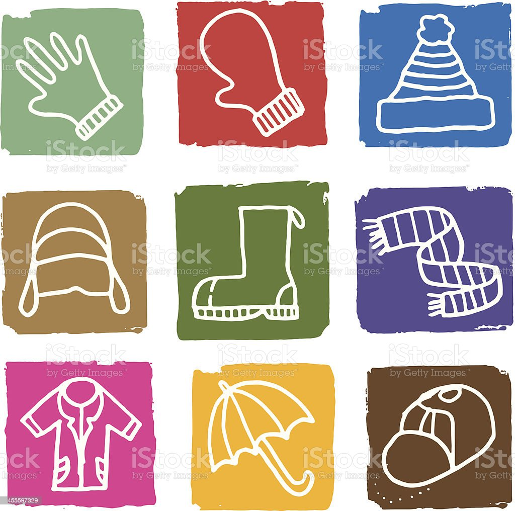 Winter clothes icon set royalty-free stock vector art