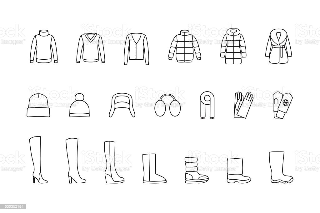 Winter clothes, shoes line icons set. Vector vector art illustration