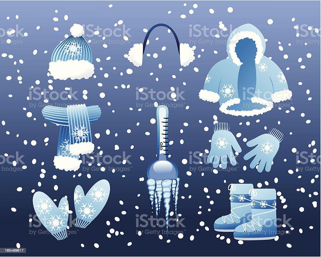 Winter clothes vector art illustration