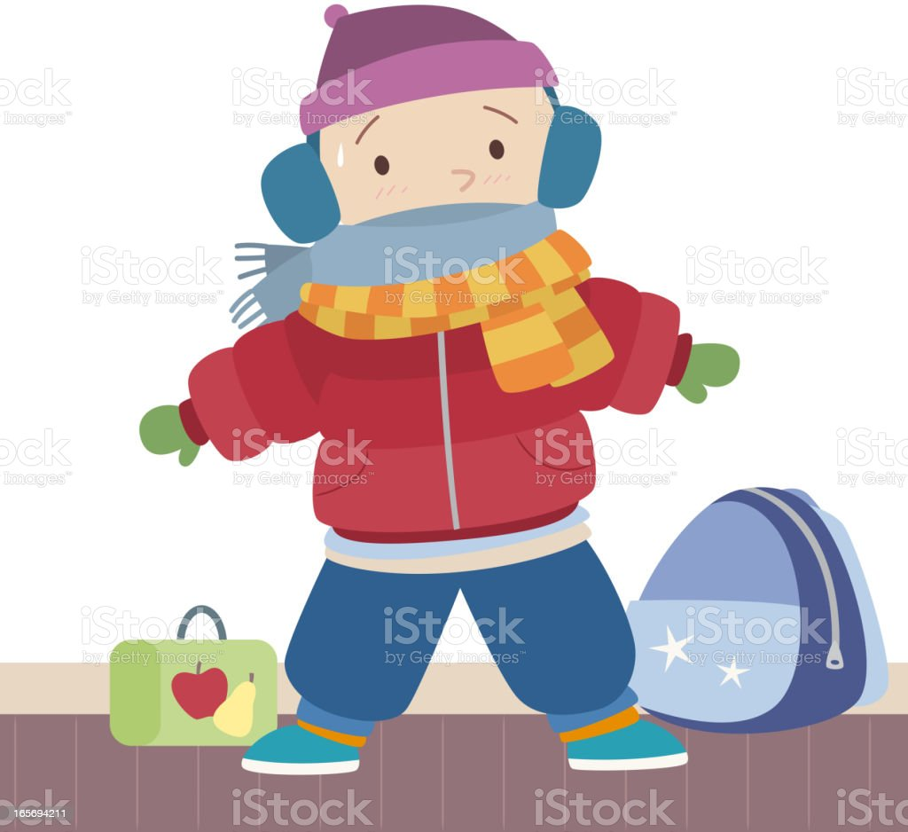 Winter clothes Wool Hat scarf snow jacket trousers boots backpack vector art illustration