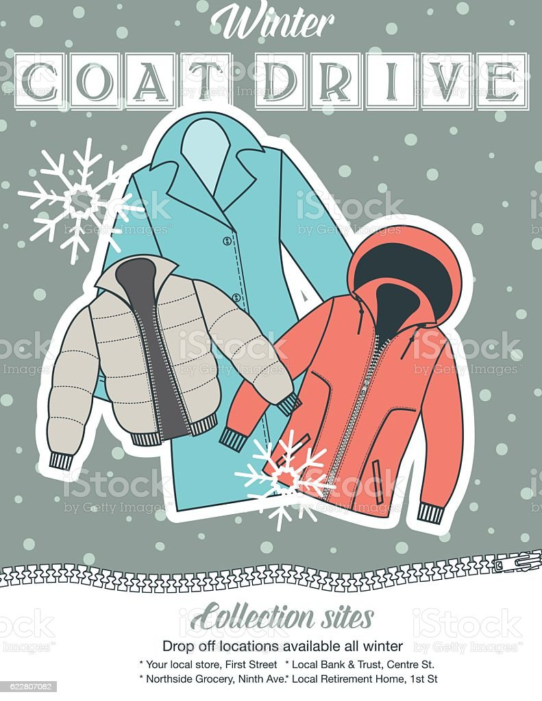 Winter Coat Drive Charity Poster template. vector art illustration