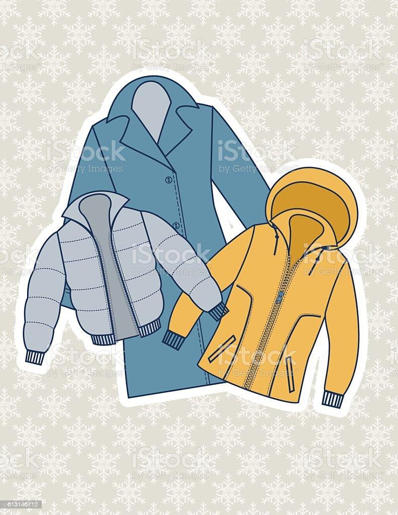 Winter Coat Illustration On A Snowflake Background vector art illustration