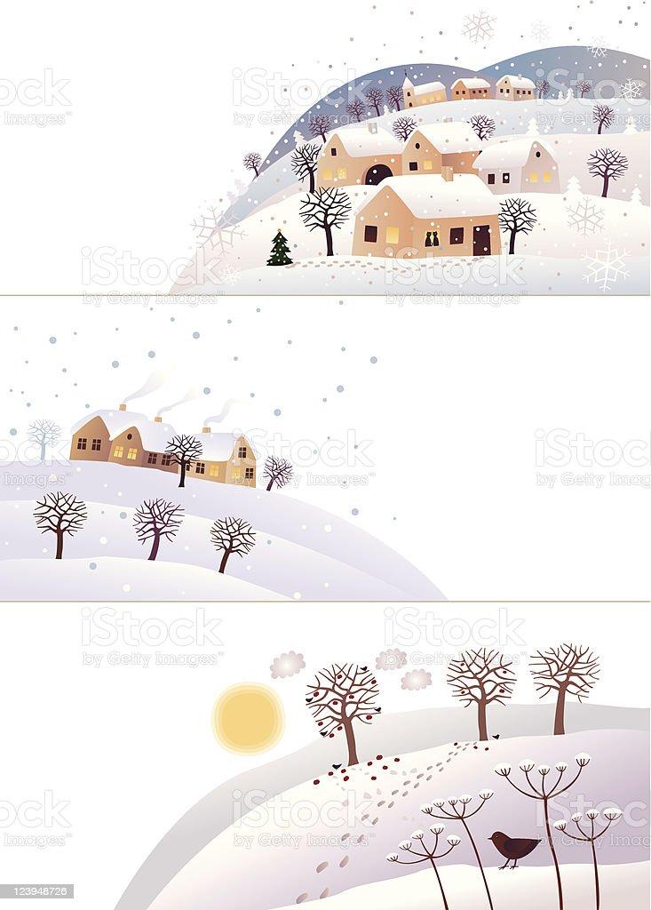 Winter corners vector art illustration