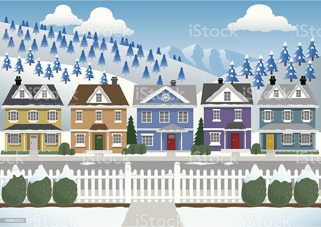 Winter Country Houses royalty-free stock vector art