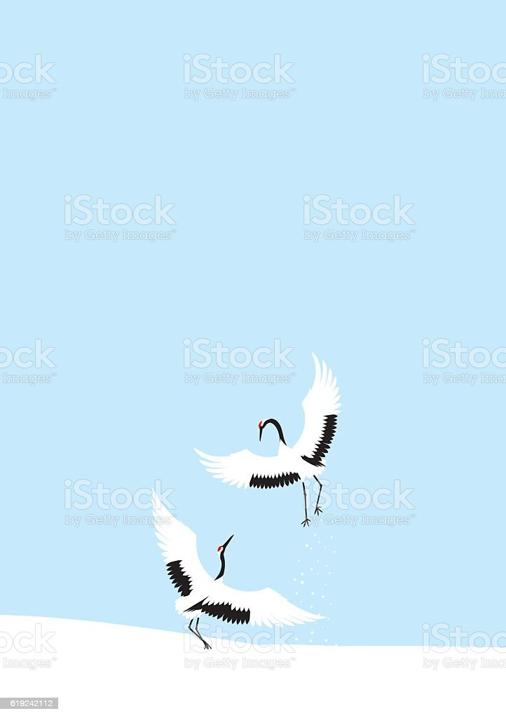 Winter crane dance. Japanese landscape. vector art illustration