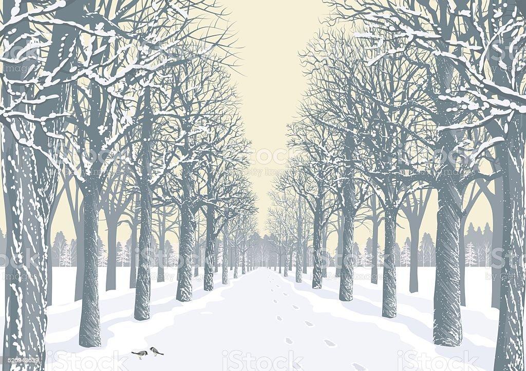 Winter day vector art illustration