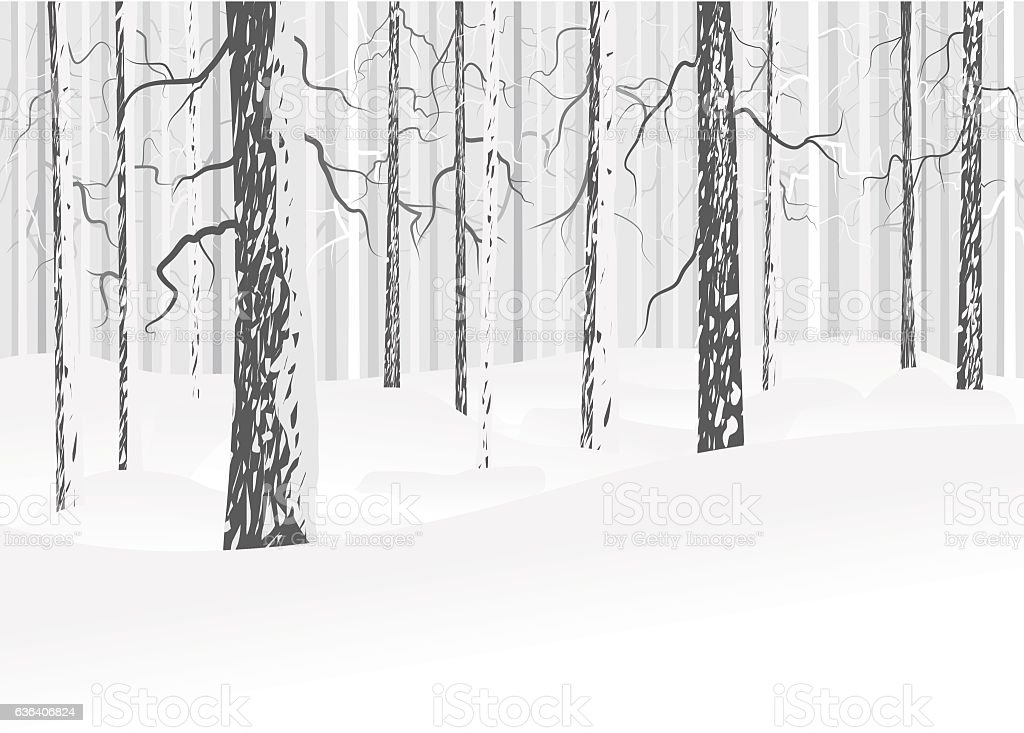 Winter deciduous forest vector art illustration