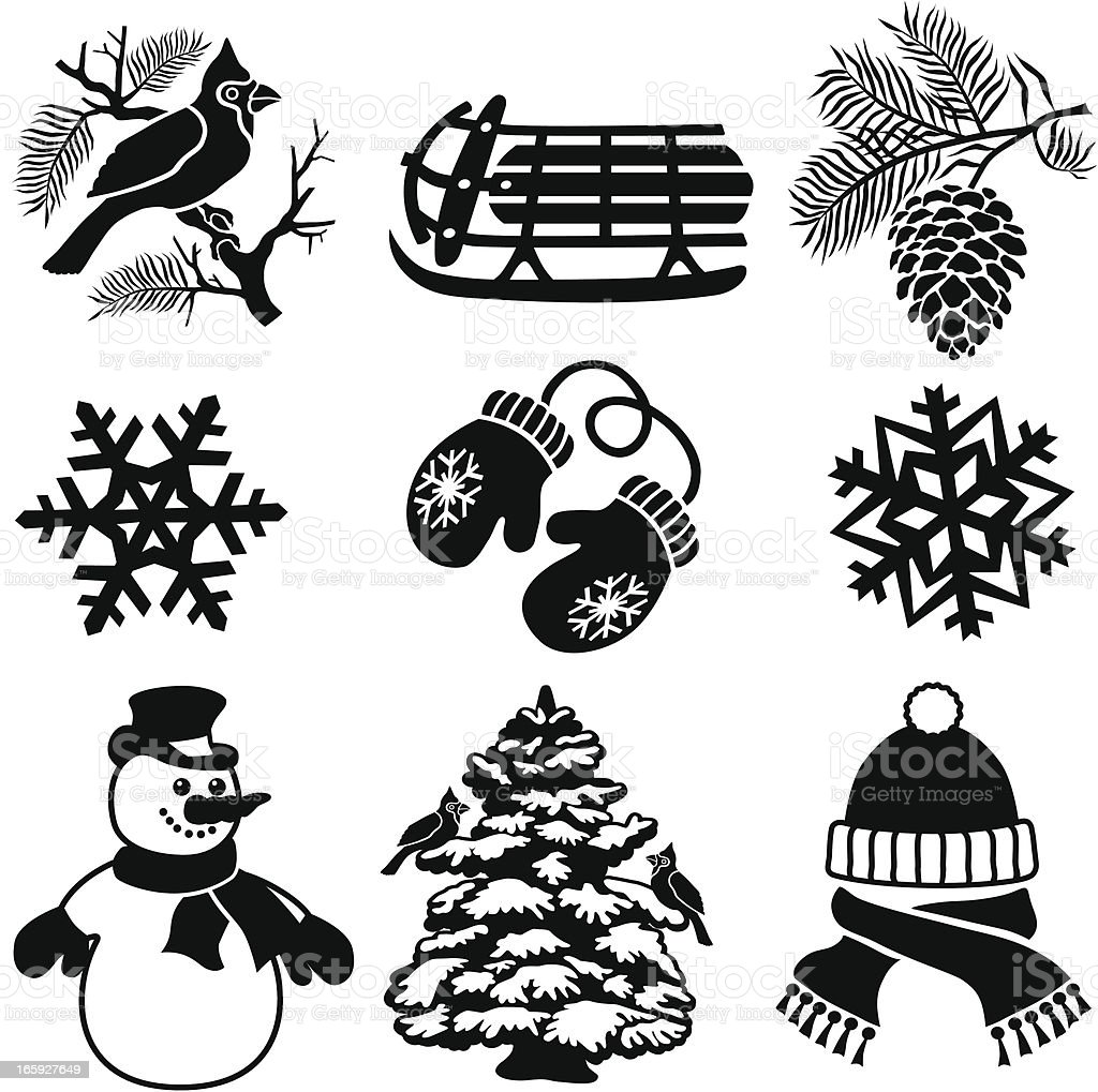 Winter design elements vector art illustration
