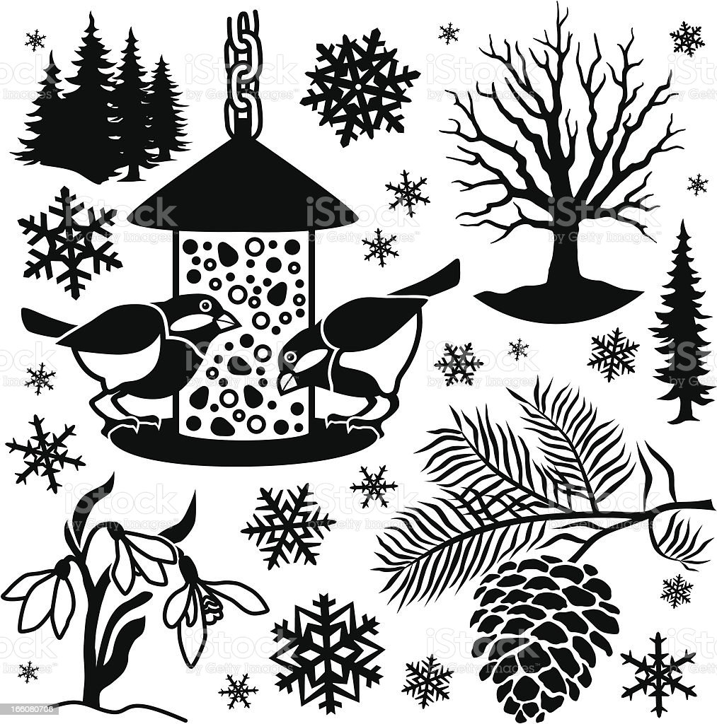 winter design elements vector art illustration