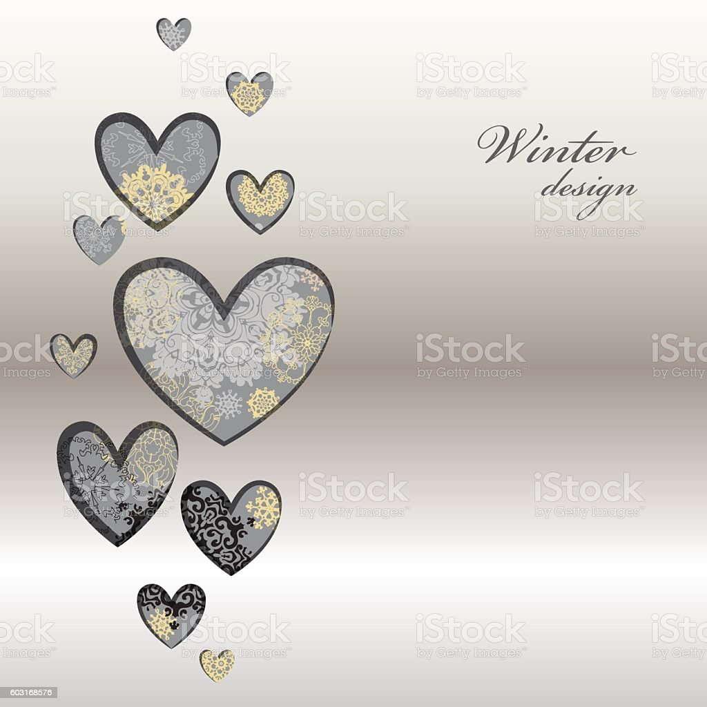 Winter design with silver white snowflakes vector art illustration