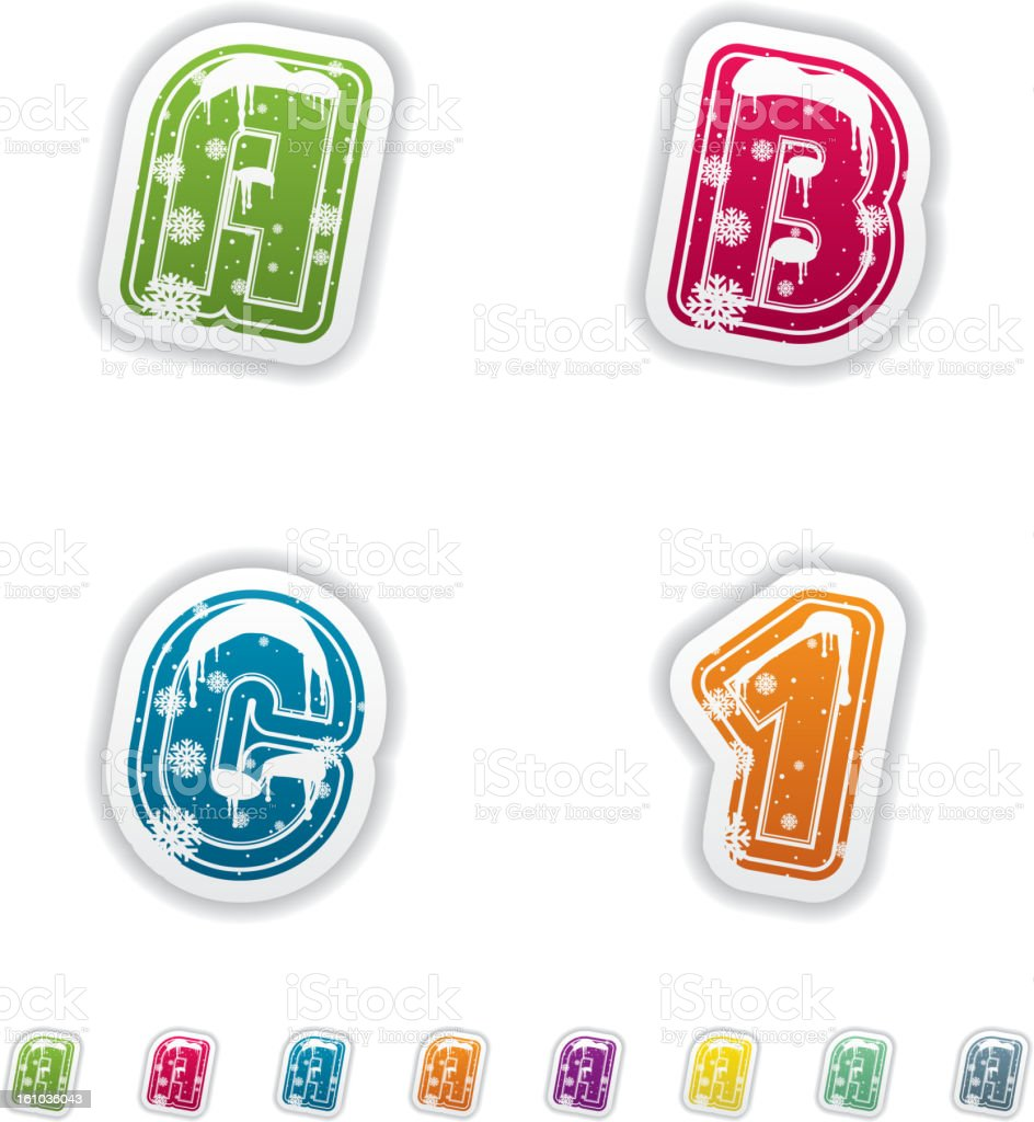 Winter digits & capital letters royalty-free stock vector art
