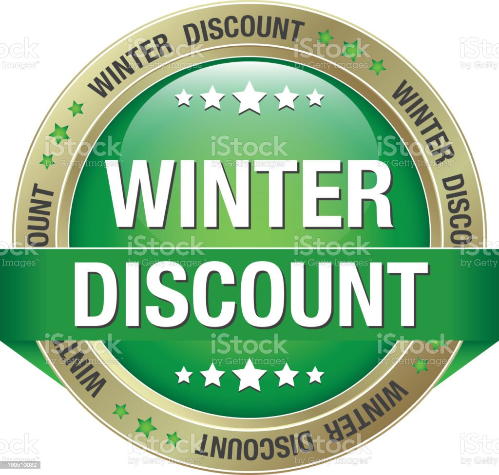 winter discount green gold button royalty-free stock vector art
