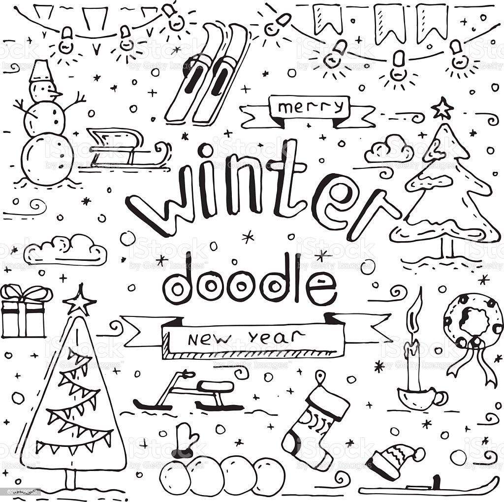 Winter Doodle Collection Stock Vector Art 625159252 Istock