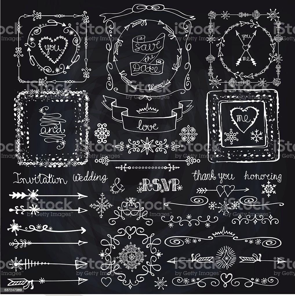 Winter doodle decor set.Frame,Border,ribbon.Hand drawn  chalkboa vector art illustration
