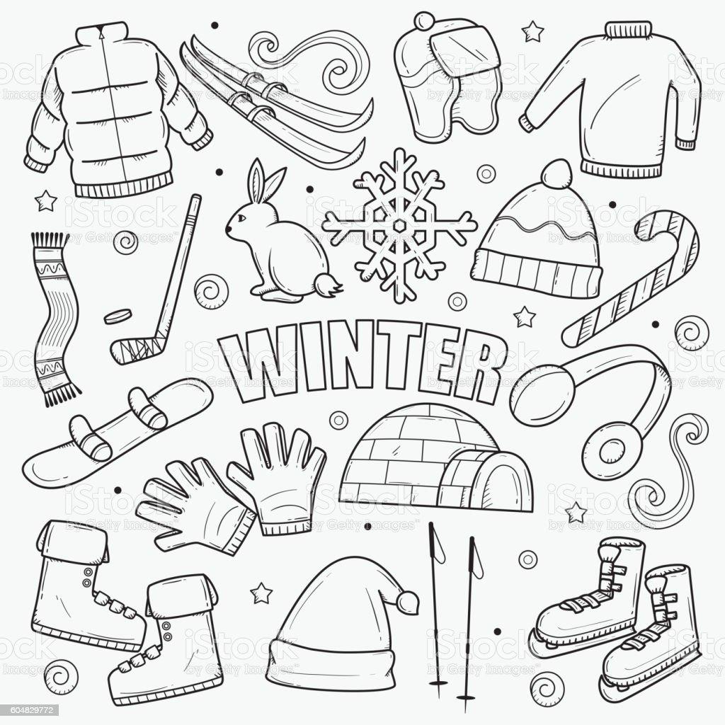 Winter Doodle vector art illustration
