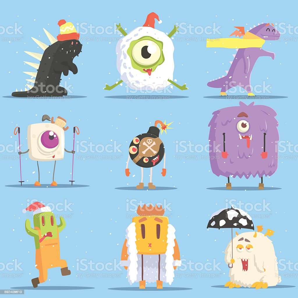 Winter Dressed Monsters in Funny Situations vector art illustration