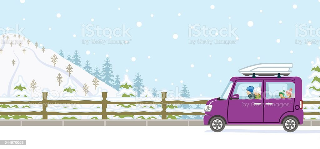 Winter Drive, Young Family, Anonymity vector art illustration
