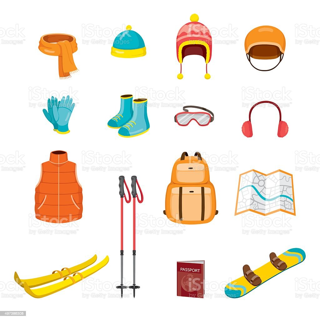 Winter Equipment Icons Set vector art illustration